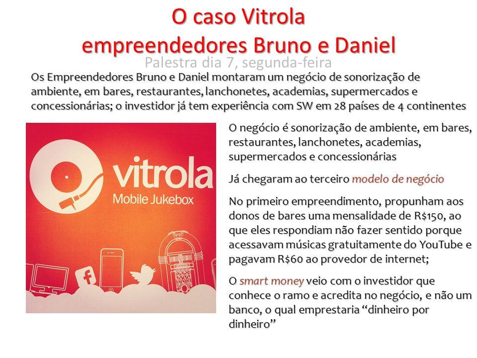 O caso Vitrola empreendedores Bruno e Daniel Os Empreendedores Bruno e Daniel montaram um negócio de sonorização de ambiente, em bares, restaurantes,