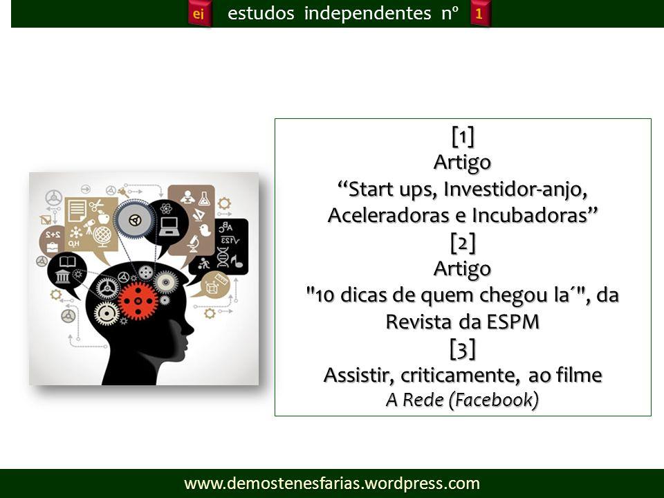estudos independentes nº [1]Artigo Start ups, Investidor-anjo, Aceleradoras e Incubadoras [2]Artigo