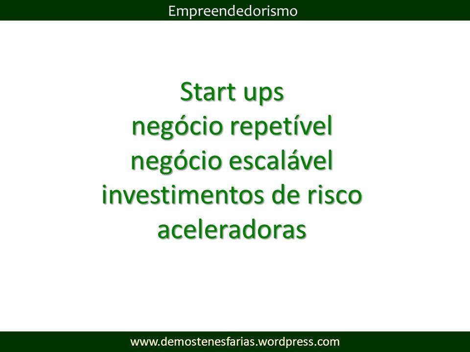 Start ups negócio repetível negócio escalável investimentos de risco aceleradoras Empreendedorismowww.demostenesfarias.wordpress.com