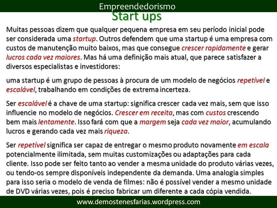 Start ups Muitas pessoas dizem que qualquer pequena empresa em seu período inicial pode ser considerada uma startup. Outros defendem que uma startup é