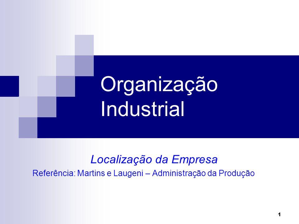 Organização Industrial Localização da Empresa Referência: Martins e Laugeni – Administração da Produção 1