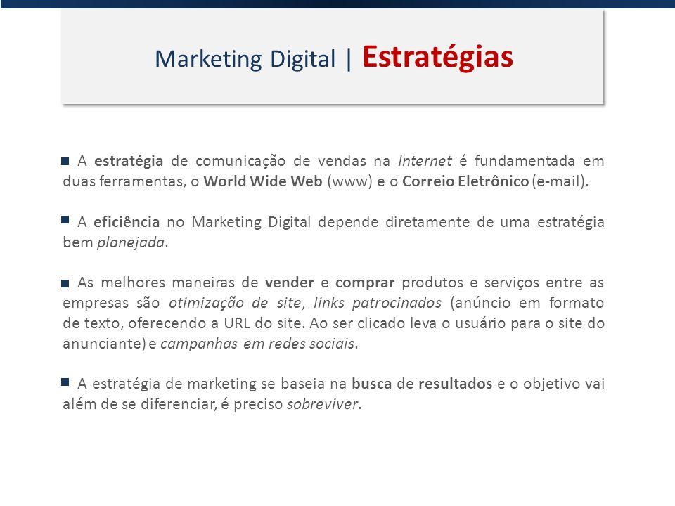 Marketing Digital | Estratégias A estratégia de comunicação de vendas na Internet é fundamentada em duas ferramentas, o World Wide Web (www) e o Corre