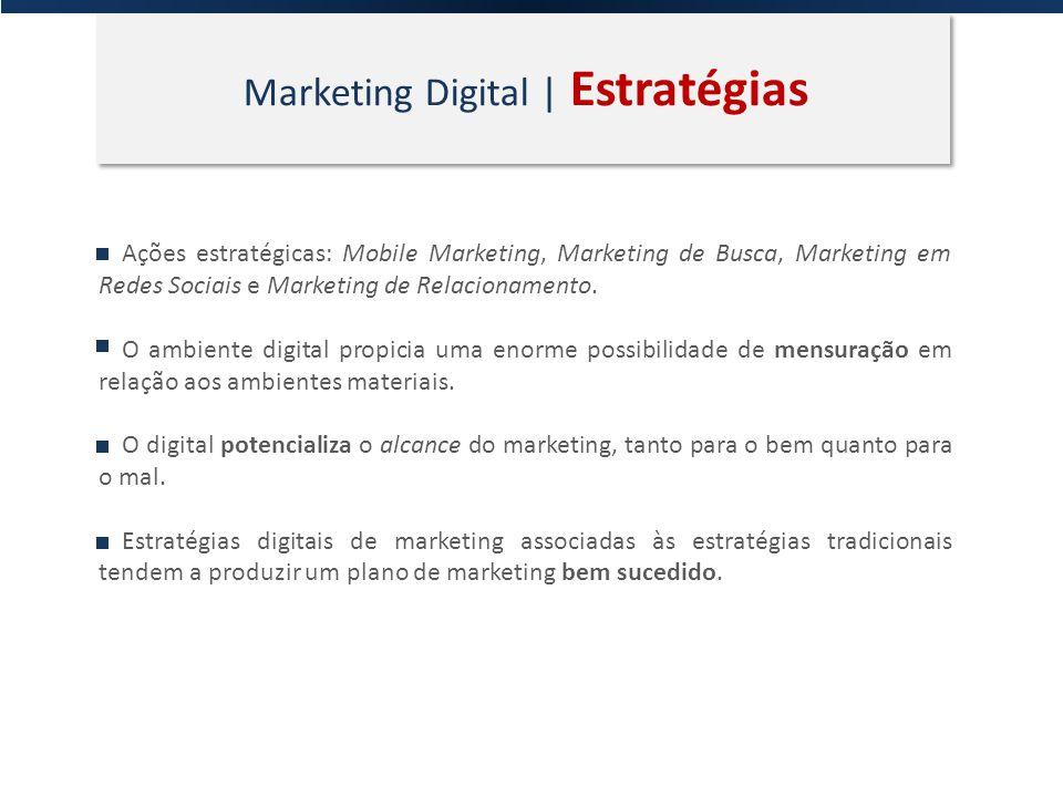 Marketing Digital | Estratégias Ações estratégicas: Mobile Marketing, Marketing de Busca, Marketing em Redes Sociais e Marketing de Relacionamento. O