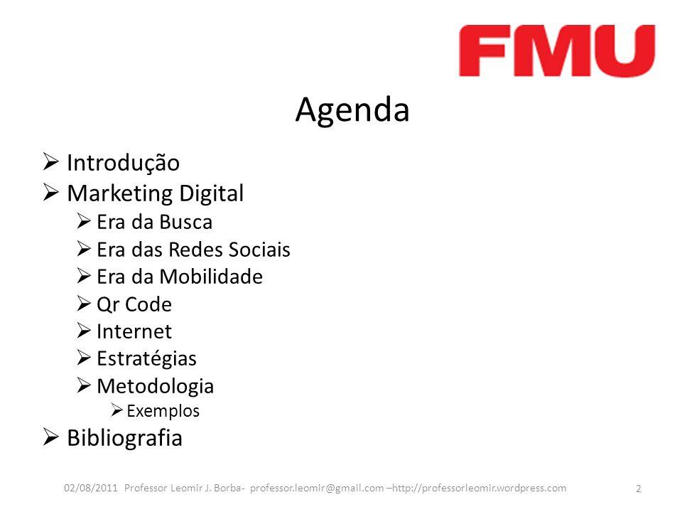 Agenda Introdução Marketing Digital Era da Busca Era das Redes Sociais Era da Mobilidade Qr Code Internet Estratégias Metodologia Exemplos Bibliografi