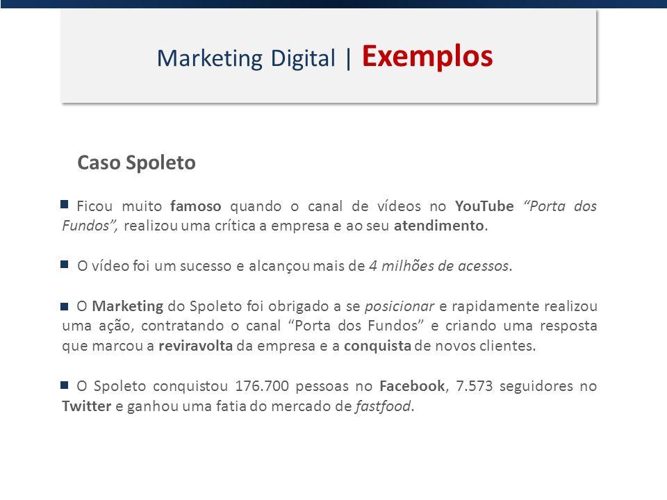 Marketing Digital | Exemplos Caso Spoleto Ficou muito famoso quando o canal de vídeos no YouTube Porta dos Fundos, realizou uma crítica a empresa e ao