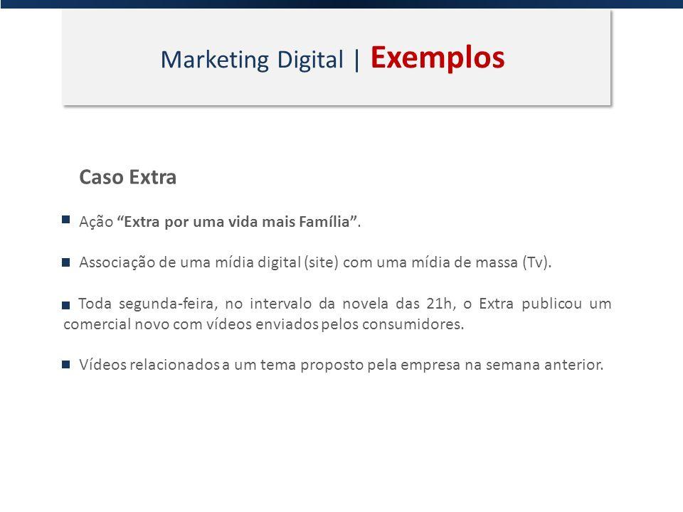 Marketing Digital | Exemplos Caso Extra Ação Extra por uma vida mais Família. Associação de uma mídia digital (site) com uma mídia de massa (Tv). Toda