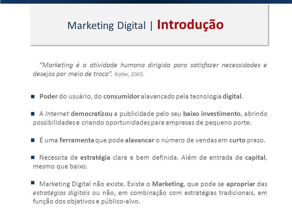 Marketing Digital | Introdução Marketing é a atividade humana dirigida para satisfazer necessidades e desejos por meio de troca. Kotler, 2003. Poder d