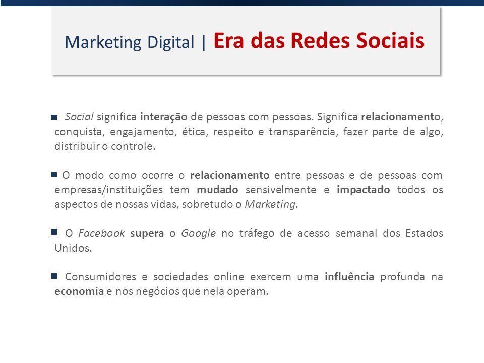 Marketing Digital | Era das Redes Sociais Social significa interação de pessoas com pessoas. Significa relacionamento, conquista, engajamento, ética,