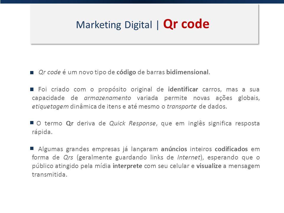 Marketing Digital | Qr code Qr code é um novo tipo de código de barras bidimensional. Foi criado com o propósito original de identificar carros, mas a