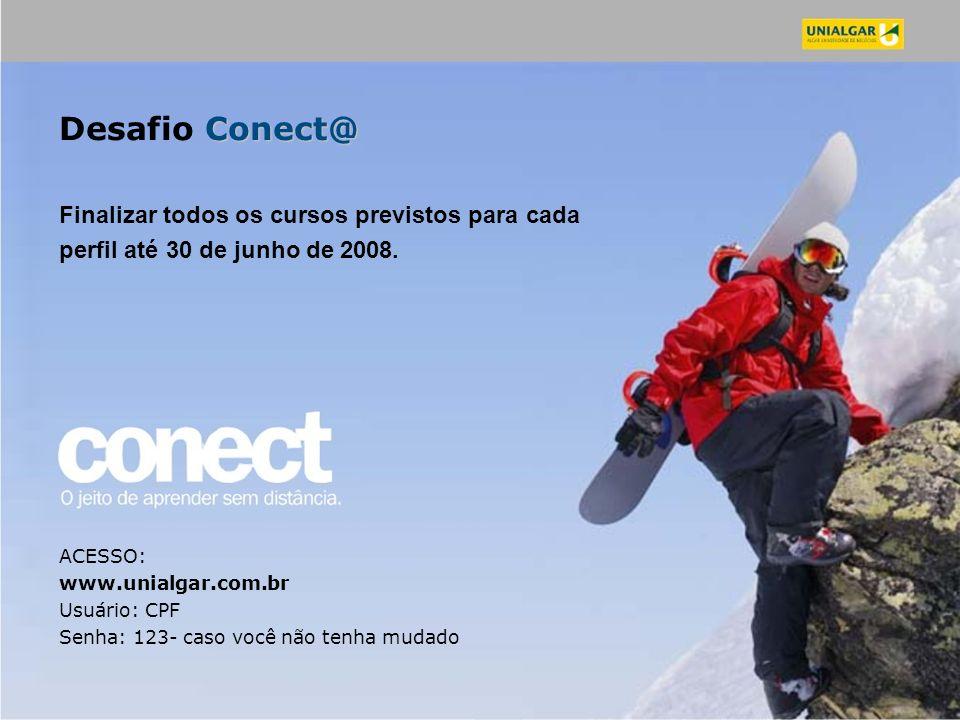 Conect@ Desafio Conect@ Finalizar todos os cursos previstos para cada perfil até 30 de junho de 2008. ACESSO: www.unialgar.com.br Usuário: CPF Senha: