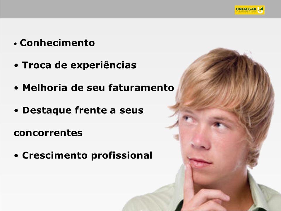 Conhecimento Troca de experiências Melhoria de seu faturamento Destaque frente a seus concorrentes Crescimento profissional