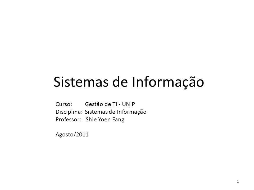 Sistemas de Informação Curso: Gestão de TI - UNIP Disciplina: Sistemas de Informação Professor: Shie Yoen Fang Agosto/2011 1