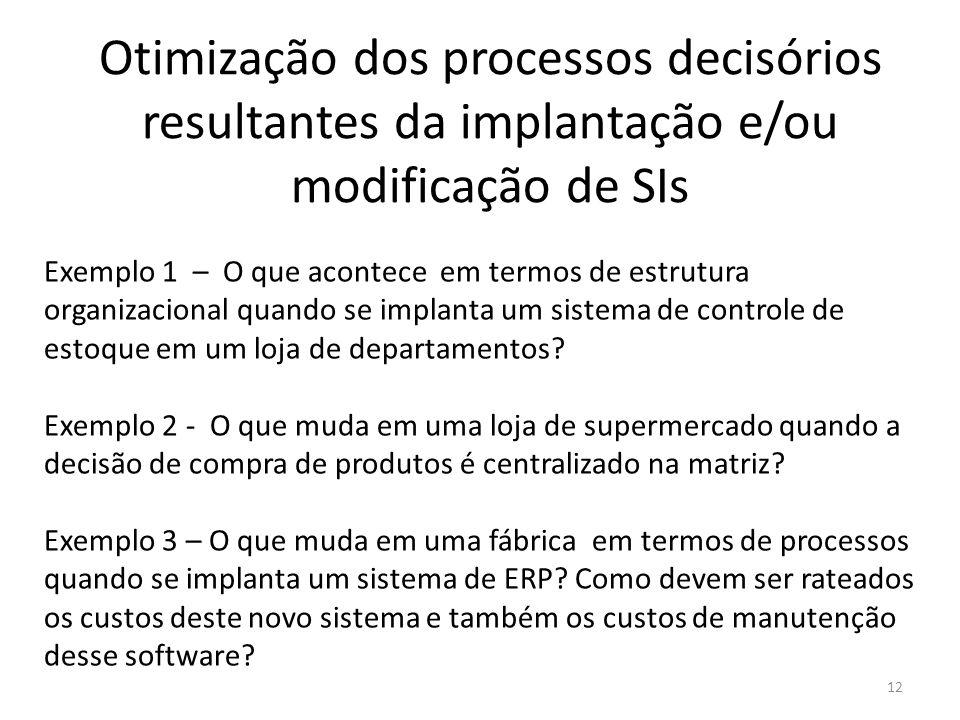 Otimização dos processos decisórios resultantes da implantação e/ou modificação de SIs 12 Exemplo 1 – O que acontece em termos de estrutura organizaci