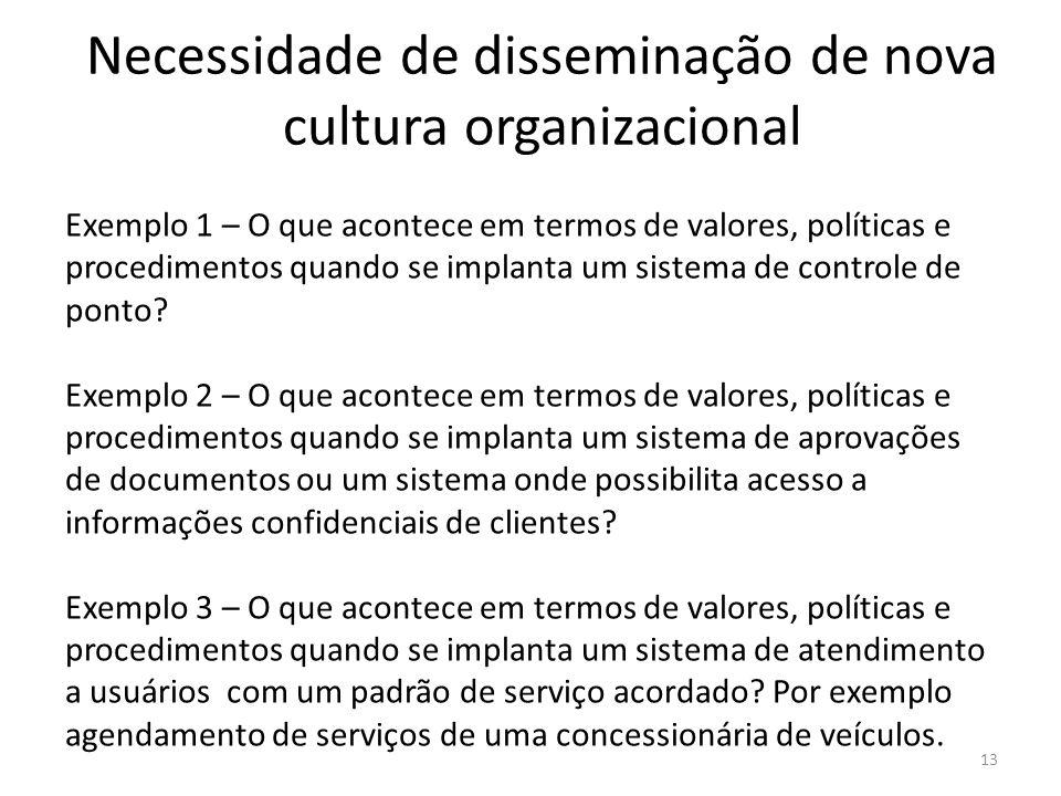 Necessidade de disseminação de nova cultura organizacional 13 Exemplo 1 – O que acontece em termos de valores, políticas e procedimentos quando se imp
