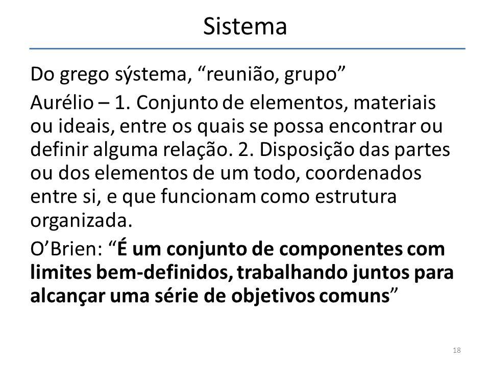 Sistema Do grego sýstema, reunião, grupo Aurélio – 1. Conjunto de elementos, materiais ou ideais, entre os quais se possa encontrar ou definir alguma