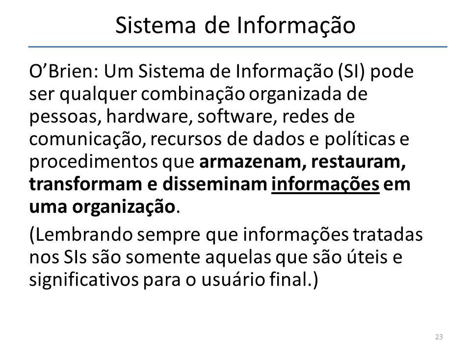 Sistema de Informação OBrien: Um Sistema de Informação (SI) pode ser qualquer combinação organizada de pessoas, hardware, software, redes de comunicaç