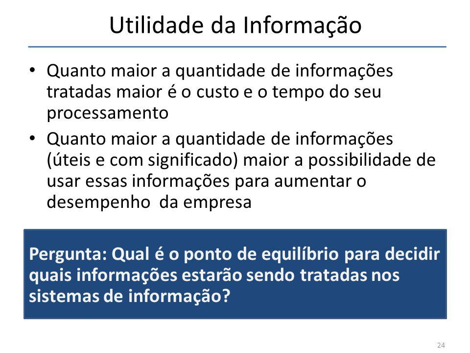 Utilidade da Informação Quanto maior a quantidade de informações tratadas maior é o custo e o tempo do seu processamento Quanto maior a quantidade de