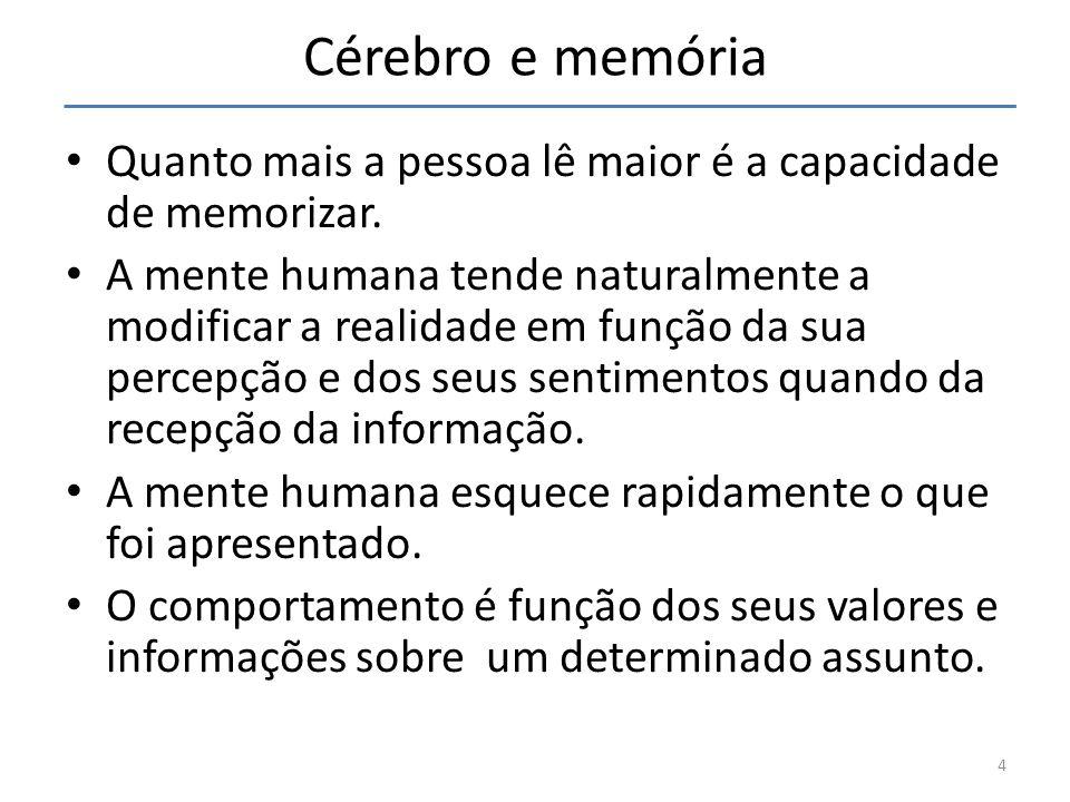 Cérebro e memória Quanto mais a pessoa lê maior é a capacidade de memorizar. A mente humana tende naturalmente a modificar a realidade em função da su