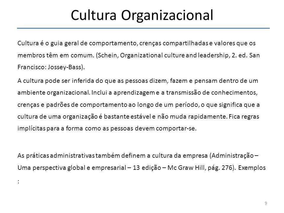 Cultura Organizacional Cultura é o guia geral de comportamento, crenças compartilhadas e valores que os membros têm em comum. (Schein, Organizational