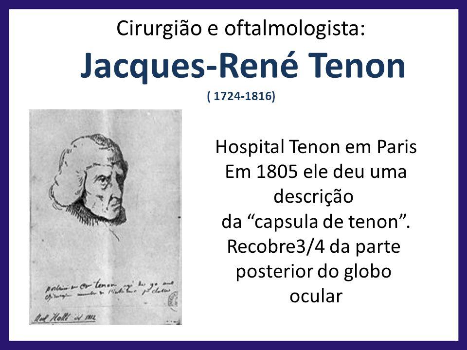 Casa feia Cirurgião e oftalmologista: Jacques-René Tenon ( 1724-1816) Hospital Tenon em Paris Em 1805 ele deu uma descrição da capsula de tenon. Recob