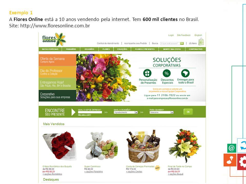 Exemplo 1 A Flores Online está a 10 anos vendendo pela internet. Tem 600 mil clientes no Brasil. Site: http://www.floresonline.com.br