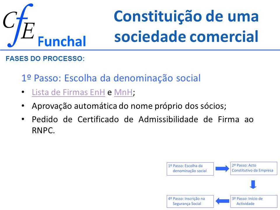 Constituição de uma sociedade comercial 2º Passo: Acto Constitutivo da Empresa EnH / MnH Realização de Escritura Pública e posterior Registo Registo Comercial de Documento Particular Funchal FASES DO PROCESSO: