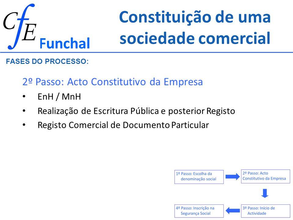 Constituição de uma sociedade comercial 2º Passo: Acto Constitutivo da Empresa EnH / MnH Realização de Escritura Pública e posterior Registo Registo C