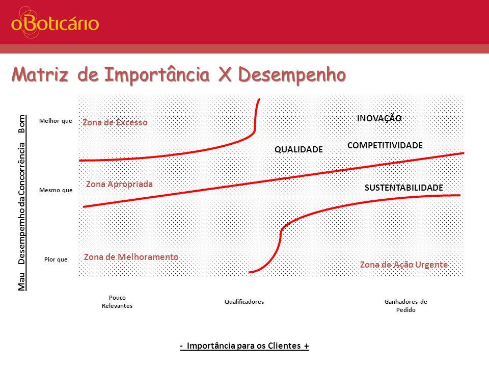 Matriz de Importância X Desempenho - Importância para os Clientes + Pouco Relevantes QualificadoresGanhadores de Pedido Mau Desempemho da Concorrência