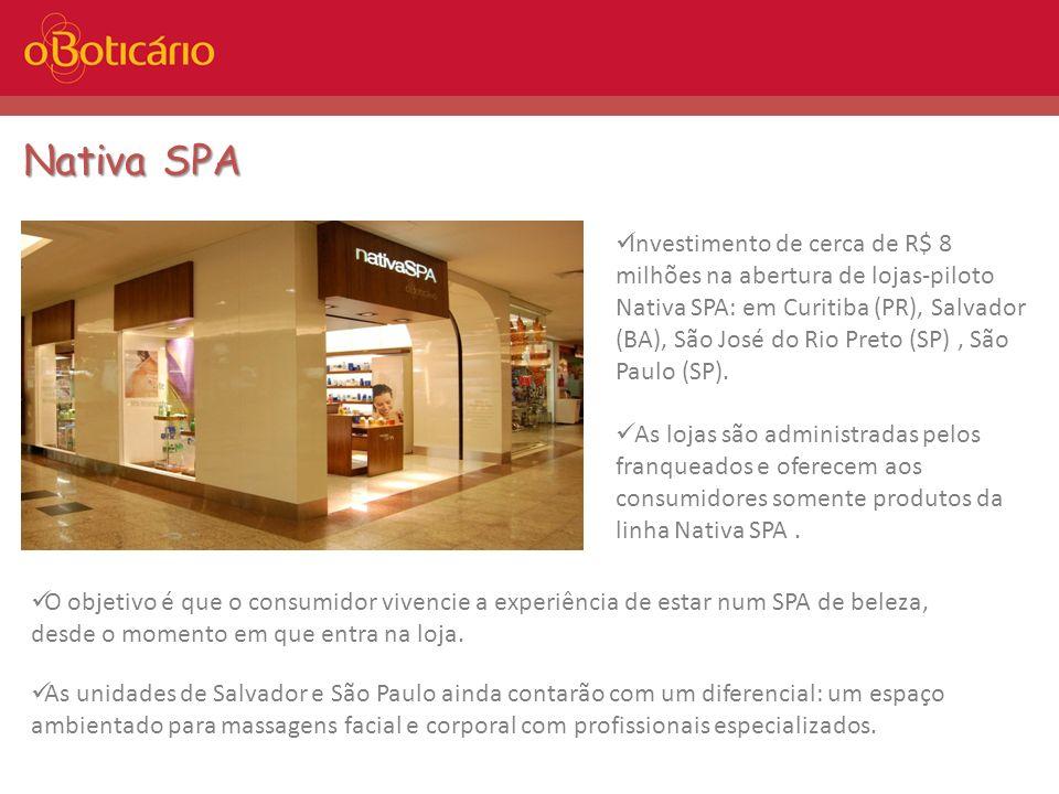 Nativa SPA Investimento de cerca de R$ 8 milhões na abertura de lojas-piloto Nativa SPA: em Curitiba (PR), Salvador (BA), São José do Rio Preto (SP),