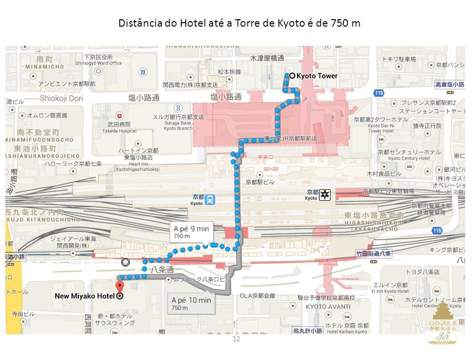 12 Distância do Hotel até a Torre de Kyoto é de 750 m