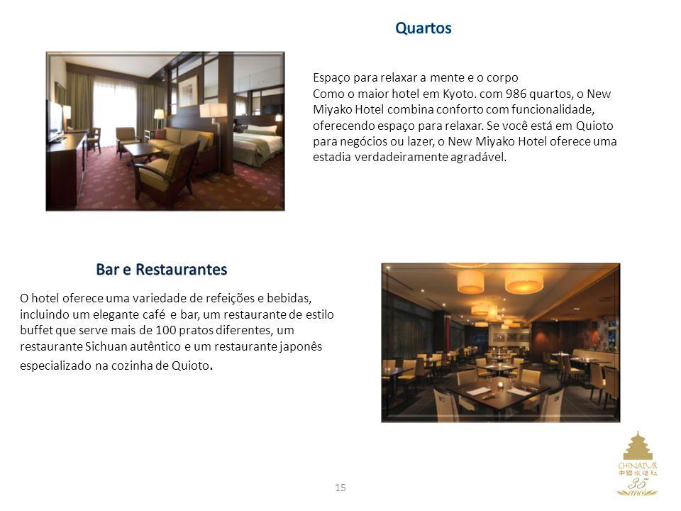 Espaço para relaxar a mente e o corpo Como o maior hotel em Kyoto. com 986 quartos, o New Miyako Hotel combina conforto com funcionalidade, oferecendo