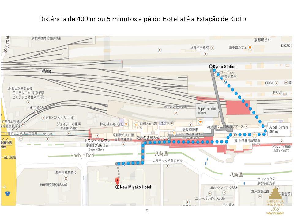 5 Distância de 400 m ou 5 minutos a pé do Hotel até a Estação de Kioto