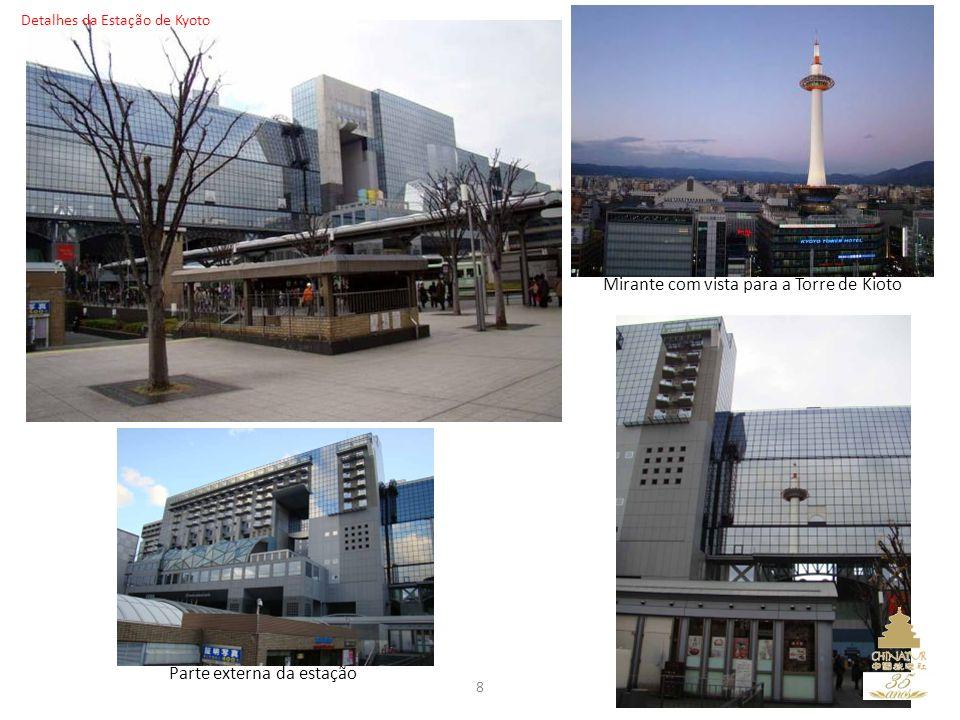 8 Mirante com vista para a Torre de Kioto Parte externa da estação Detalhes da Estação de Kyoto