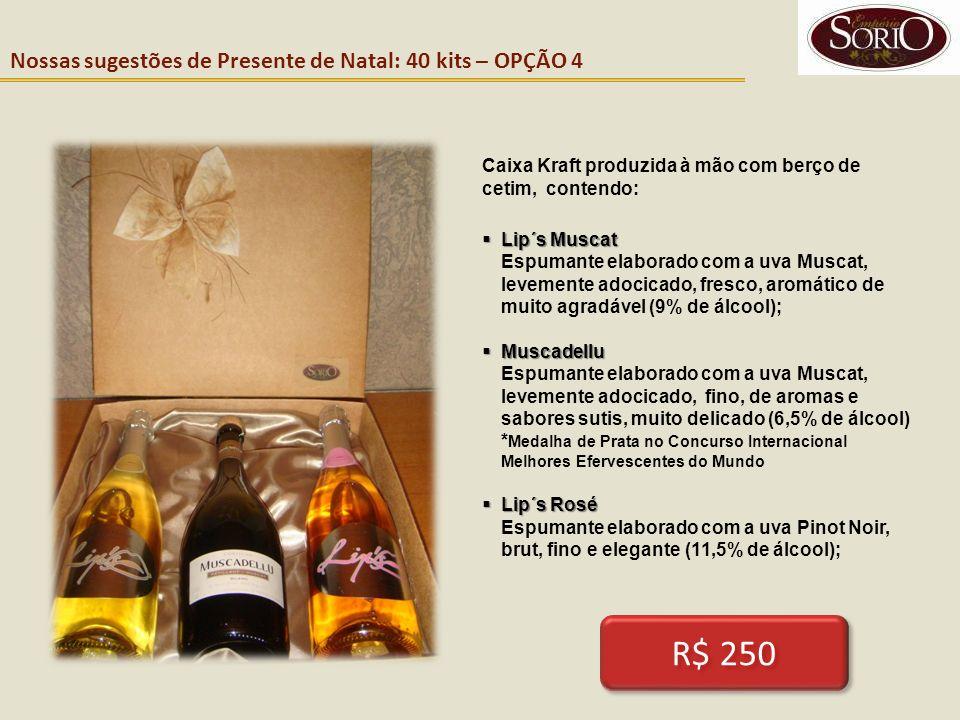 Nossas sugestões de Presente de Natal: 40 kits – OPÇÃO 4 Caixa Kraft produzida à mão com berço de cetim, contendo: Lip´s Muscat Lip´s Muscat Espumante