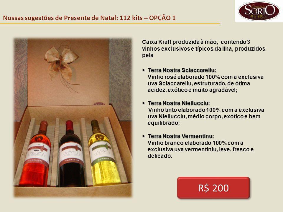 Nossas sugestões de Presente de Natal: 112 kits – OPÇÃO 1 Caixa Kraft produzida à mão, contendo 3 vinhos exclusivos e típicos da Ilha, produzidos pela