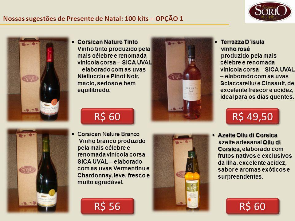 Nossas sugestões de Presente de Natal: 100 kits – OPÇÃO 1 R$ 56 R$ 60 Corsican Nature Tinto Corsican Nature Tinto Vinho tinto produzido pela mais céle