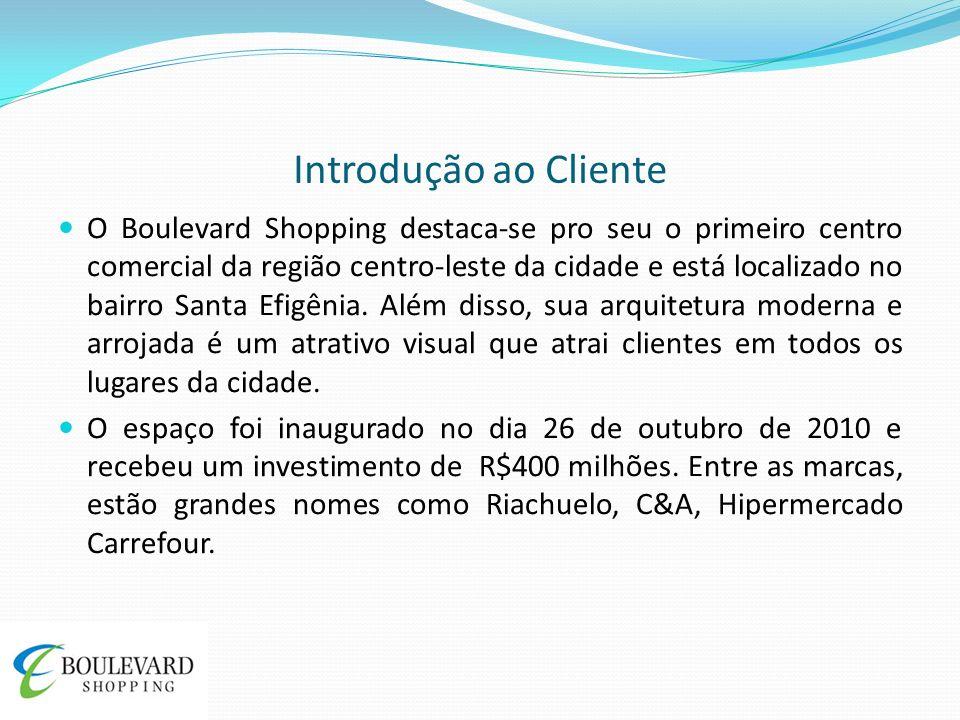 Introdução ao Cliente O Boulevard Shopping destaca-se pro seu o primeiro centro comercial da região centro-leste da cidade e está localizado no bairro