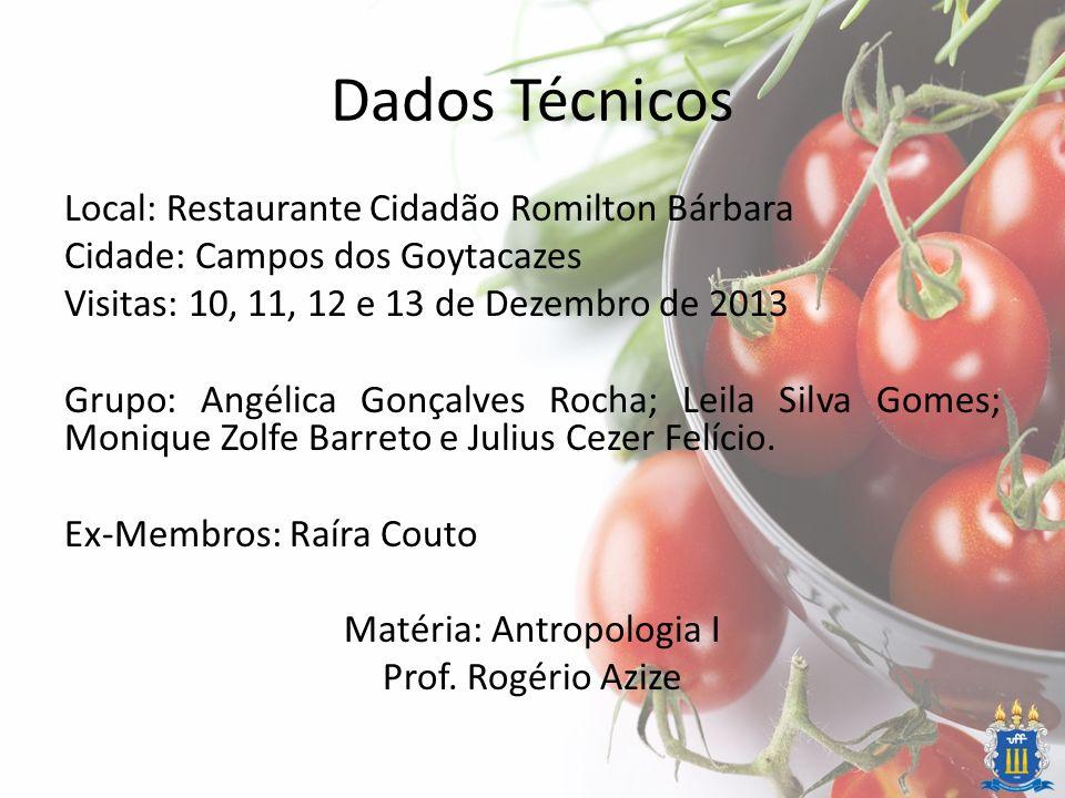 Dados Técnicos Local: Restaurante Cidadão Romilton Bárbara Cidade: Campos dos Goytacazes Visitas: 10, 11, 12 e 13 de Dezembro de 2013 Grupo: Angélica