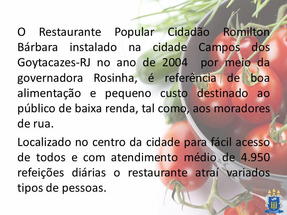 Dados Técnicos Local: Restaurante Cidadão Romilton Bárbara Cidade: Campos dos Goytacazes Visitas: 10, 11, 12 e 13 de Dezembro de 2013 Grupo: Angélica Gonçalves Rocha; Leila Silva Gomes; Monique Zolfe Barreto e Julius Cezer Felício.