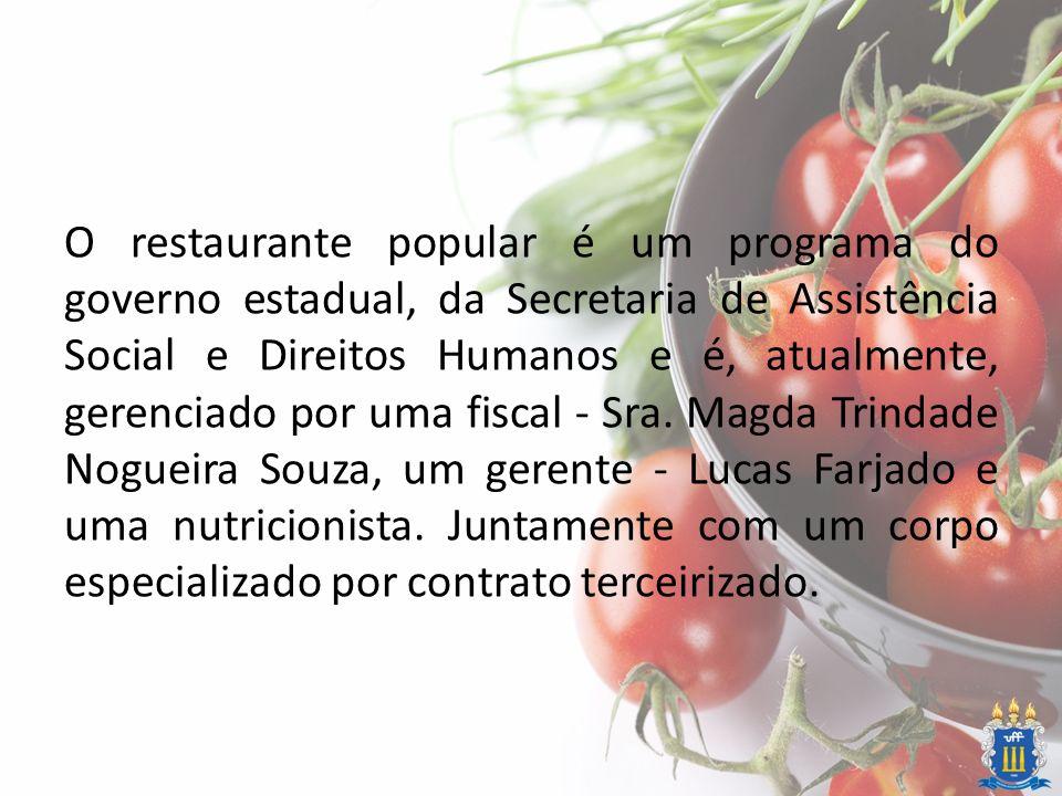 O restaurante popular é um programa do governo estadual, da Secretaria de Assistência Social e Direitos Humanos e é, atualmente, gerenciado por uma fi