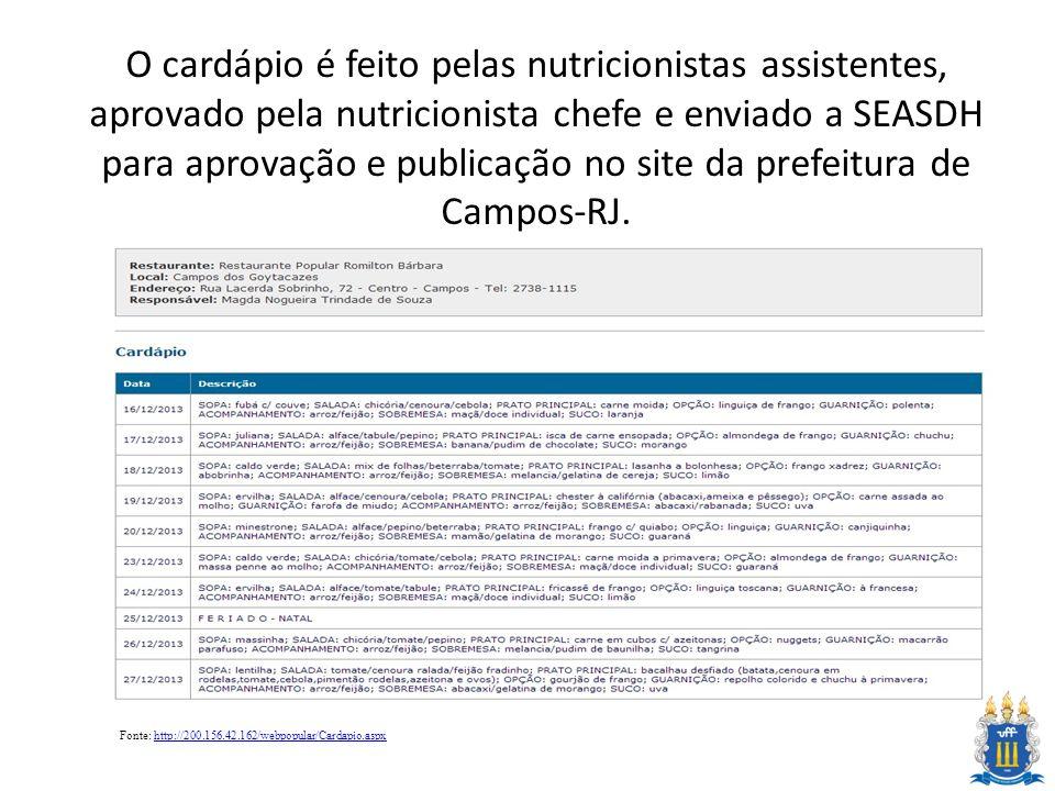O cardápio é feito pelas nutricionistas assistentes, aprovado pela nutricionista chefe e enviado a SEASDH para aprovação e publicação no site da prefe