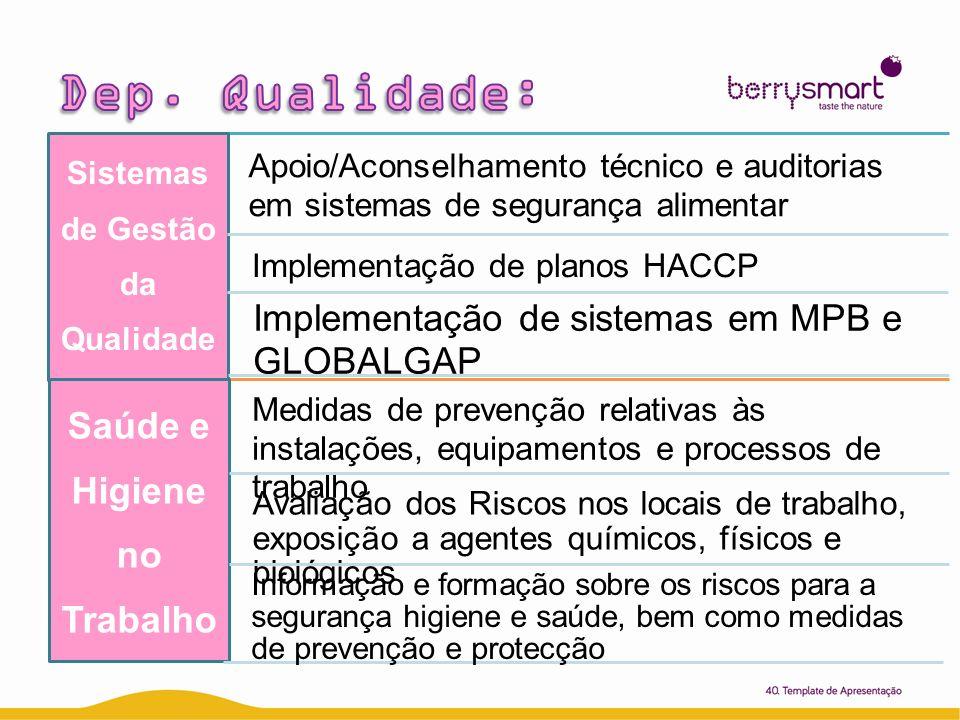 Sistemas de Gestão da Qualidad e Apoio/Aconselhamento técnico e auditorias em sistemas de segurança alimentar Implementação de planos HACCP Implementa