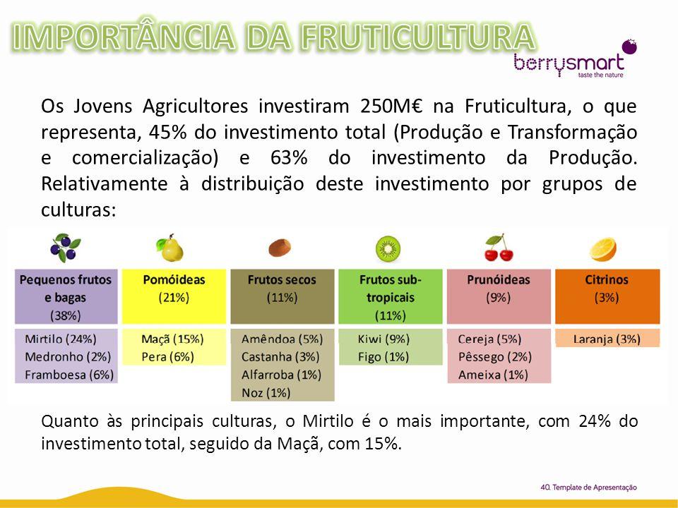 Os Jovens Agricultores investiram 250M na Fruticultura, o que representa, 45% do investimento total (Produção e Transformação e comercialização) e 63%