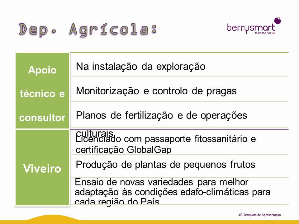 Apoio técnico e consult oria Na instalação da exploração Planos de fertilização e de operações culturais Monitorização e controlo de pragas Viveir o L