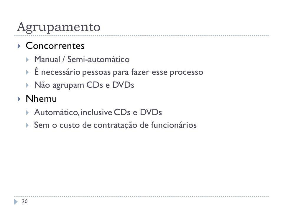 Agrupamento Concorrentes Manual / Semi-automático É necessário pessoas para fazer esse processo Não agrupam CDs e DVDs Nhemu Automático, inclusive CDs