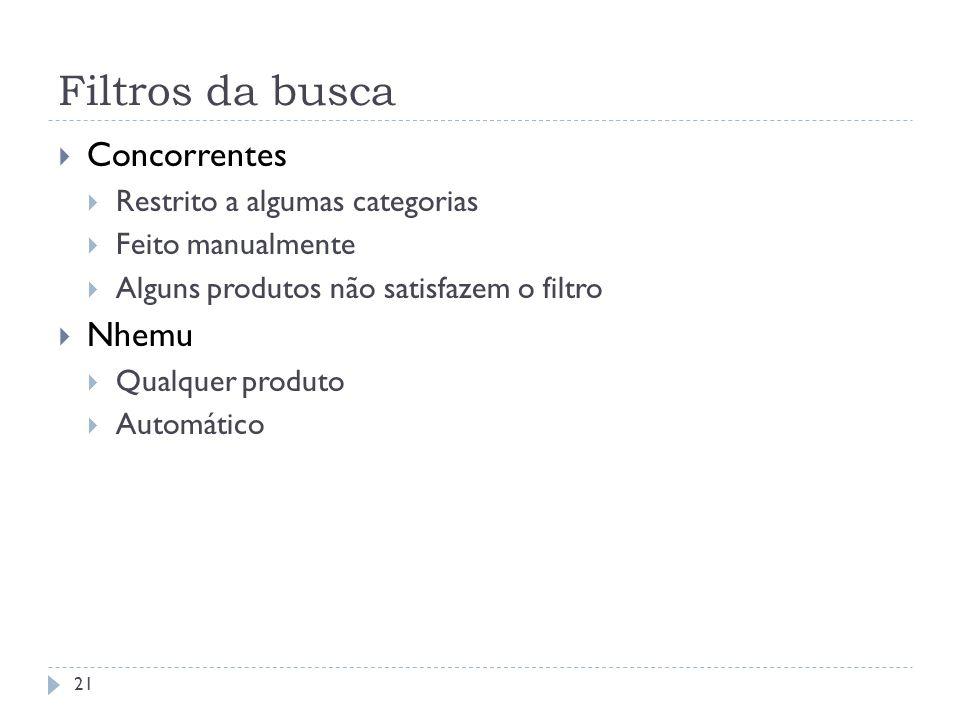 Filtros da busca Concorrentes Restrito a algumas categorias Feito manualmente Alguns produtos não satisfazem o filtro Nhemu Qualquer produto Automátic