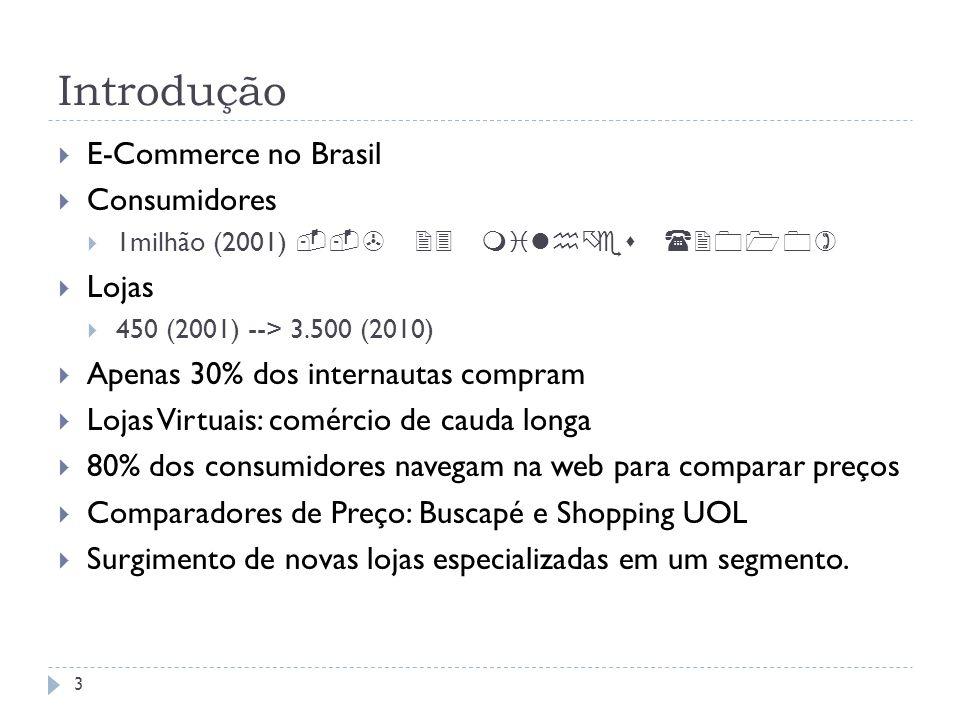 Introdução E-Commerce no Brasil Consumidores 1milhão (2001) Lojas 450 (2001) --> 3.500 (2010) Apenas 30% dos internautas compram Lojas Virtuais: comér