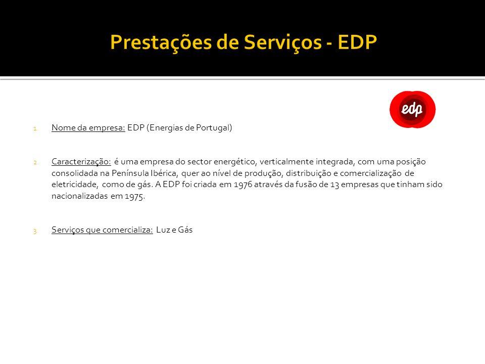 1. Nome da empresa: EDP (Energias de Portugal) 2. Caracterização: é uma empresa do sector energético, verticalmente integrada, com uma posição consoli