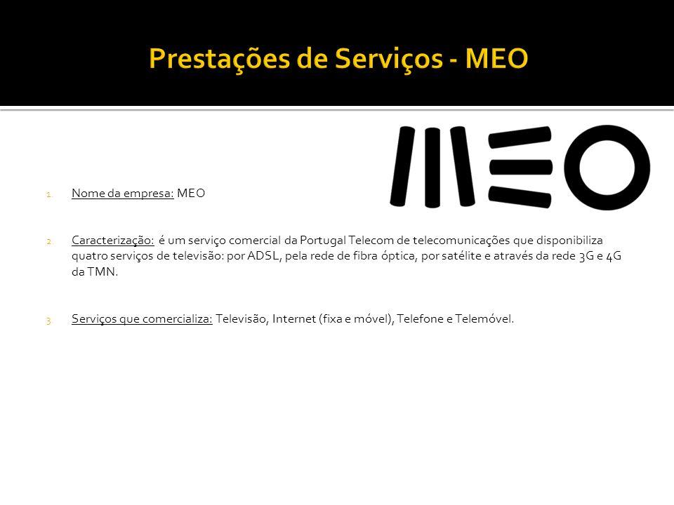 1. Nome da empresa: MEO 2. Caracterização: é um serviço comercial da Portugal Telecom de telecomunicações que disponibiliza quatro serviços de televis