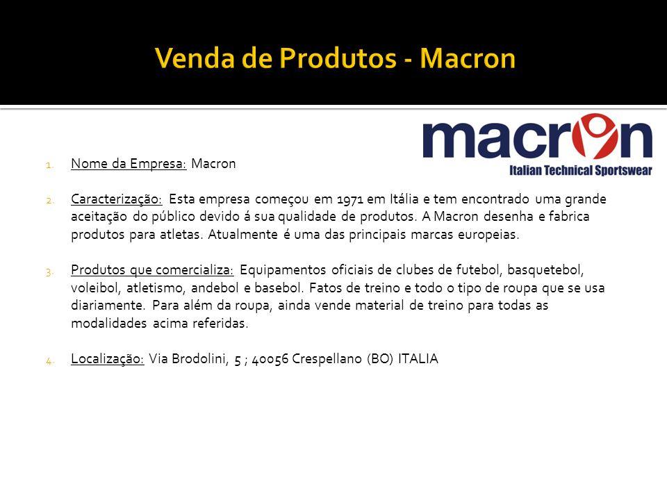 1. Nome da Empresa: Macron 2. Caracterização: Esta empresa começou em 1971 em Itália e tem encontrado uma grande aceitação do público devido á sua qua